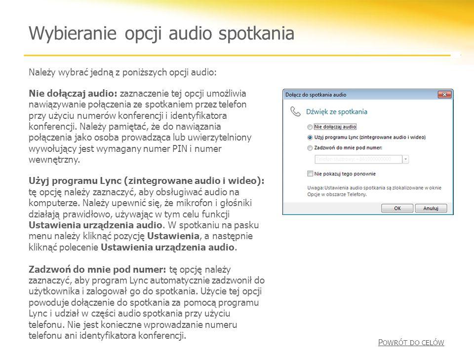 Wybieranie opcji audio spotkania