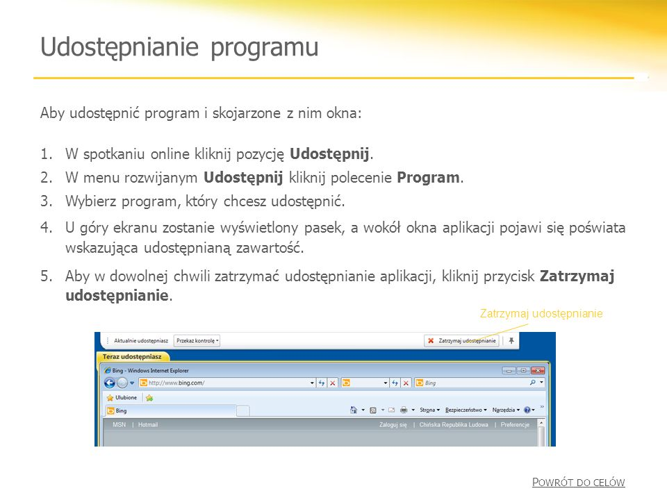 Udostępnianie programu