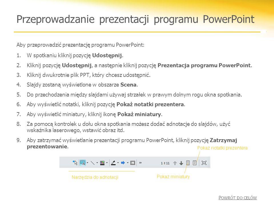 Przeprowadzanie prezentacji programu PowerPoint
