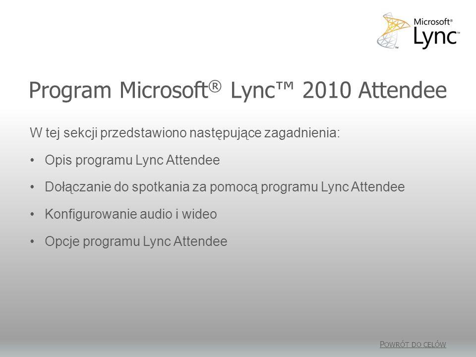 Program Microsoft® Lync™ 2010 Attendee