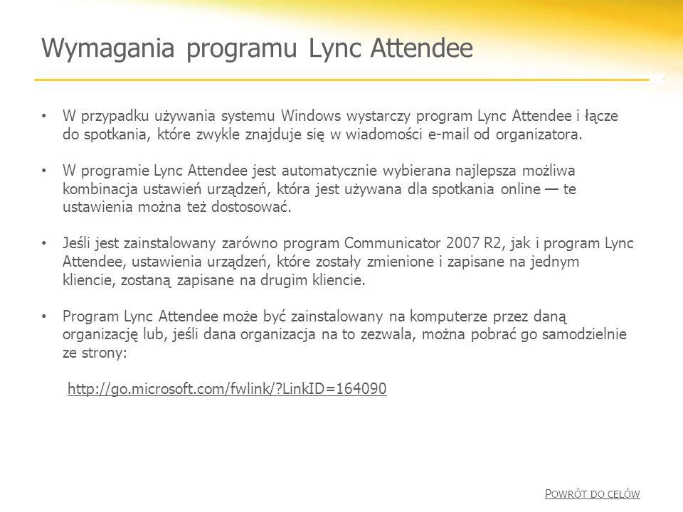 Wymagania programu Lync Attendee