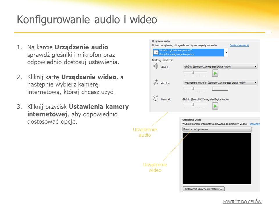 Konfigurowanie audio i wideo