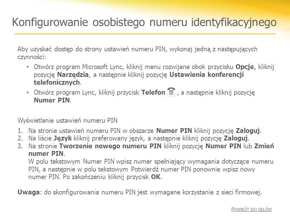 Konfigurowanie osobistego numeru identyfikacyjnego