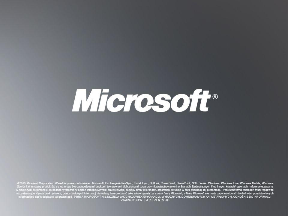 © 2010 Microsoft Corporation. Wszelkie prawa zastrzeżone
