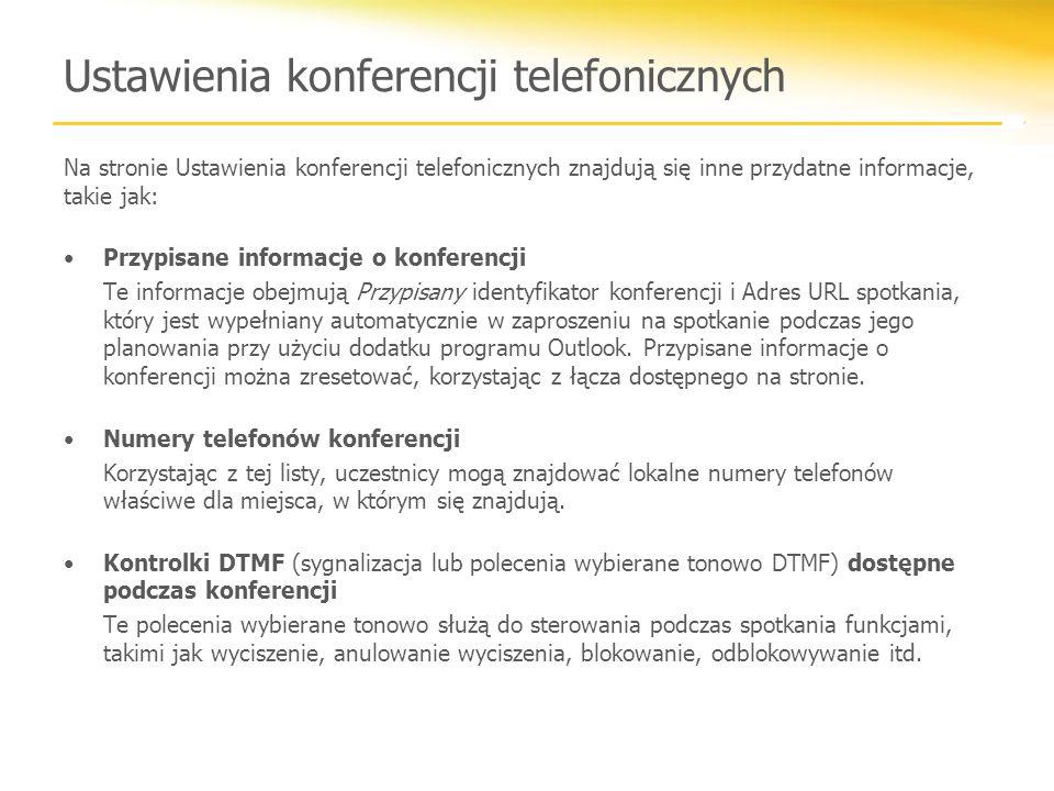 Ustawienia konferencji telefonicznych