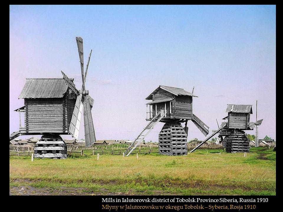 Mills in Ialutorovsk district of Tobolsk Province Siberia, Russia 1910 Młyny w Jalutorowsku w okręgu Tobolsk – Syberia, Rosja 1910