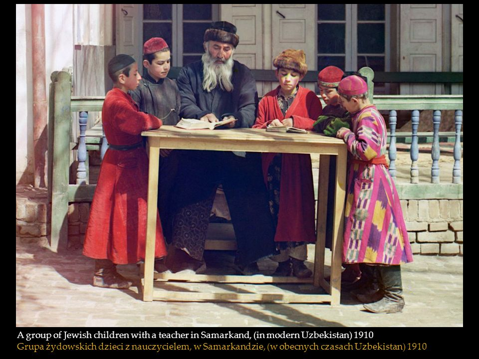 A group of Jewish children with a teacher in Samarkand, (in modern Uzbekistan) 1910
