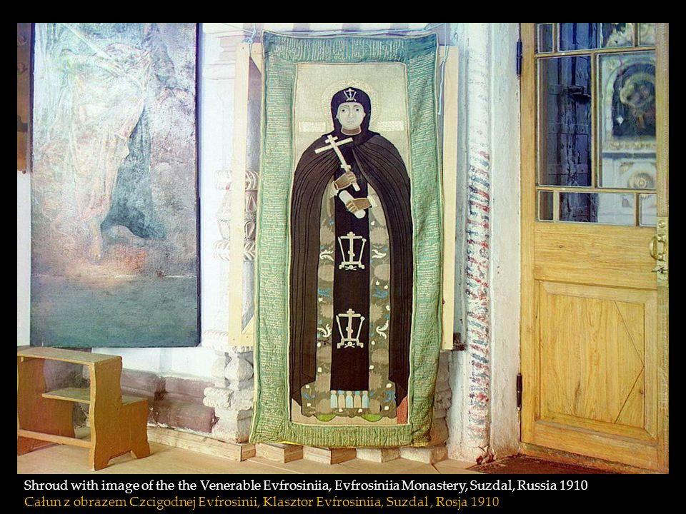 Shroud with image of the the Venerable Evfrosiniia, Evfrosiniia Monastery, Suzdal, Russia 1910 Całun z obrazem Czcigodnej Evfrosinii, Klasztor Evfrosiniia, Suzdal , Rosja 1910