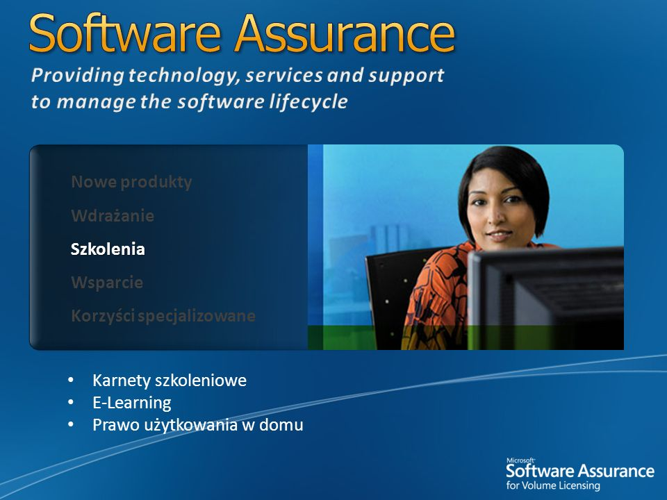Software Assurance Providing technology, services and support to manage the software lifecycle. Nowe produkty.