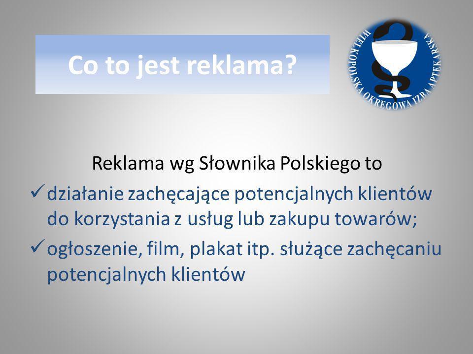 Reklama wg Słownika Polskiego to