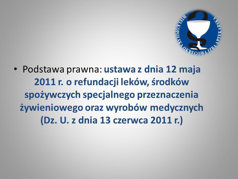 Podstawa prawna: ustawa z dnia 12 maja 2011 r