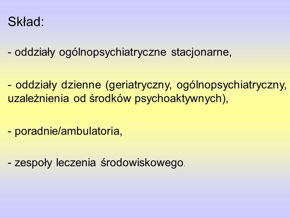Skład: - oddziały ogólnopsychiatryczne stacjonarne,