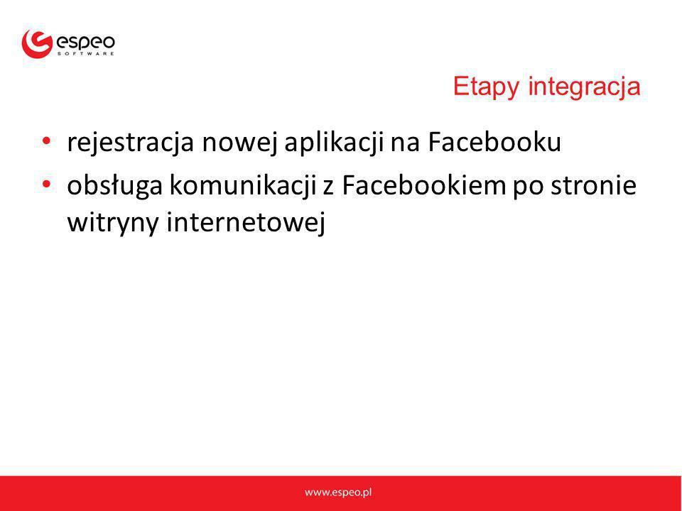 rejestracja nowej aplikacji na Facebooku