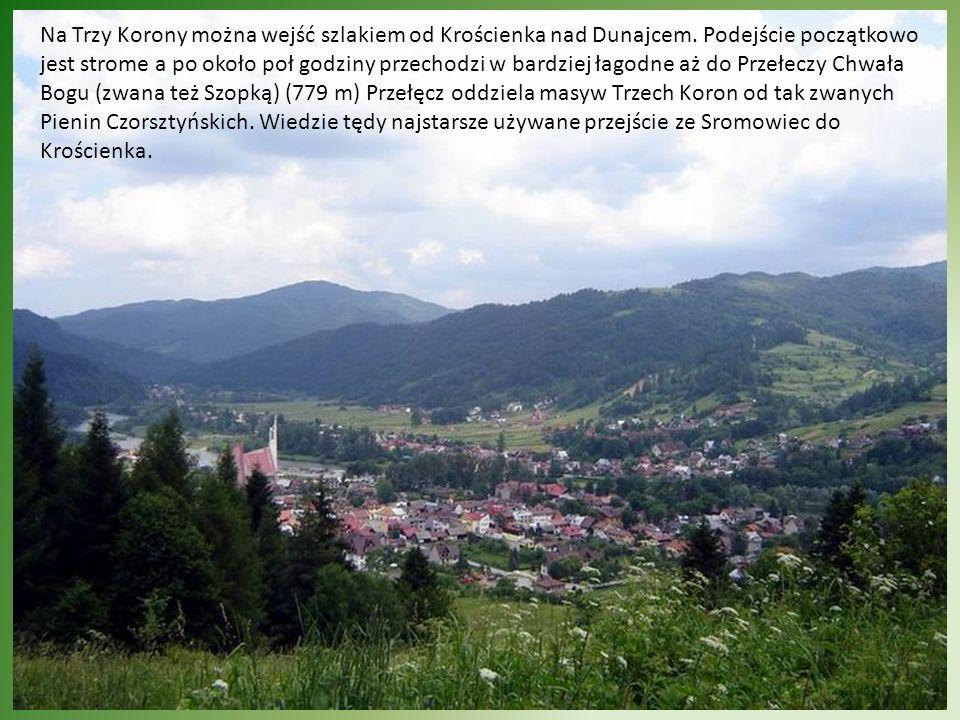 Na Trzy Korony można wejść szlakiem od Krościenka nad Dunajcem