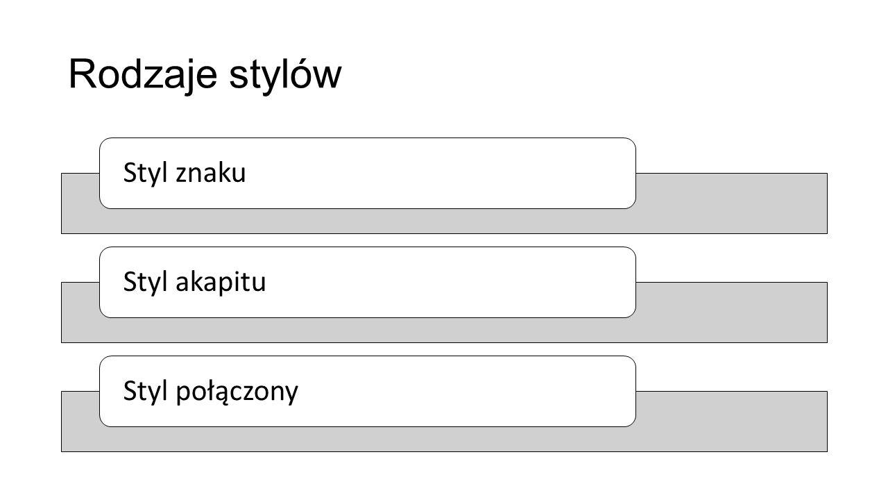 Rodzaje stylów Styl znaku Styl akapitu Styl połączony