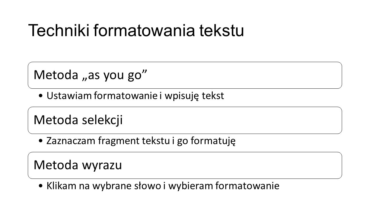 Techniki formatowania tekstu
