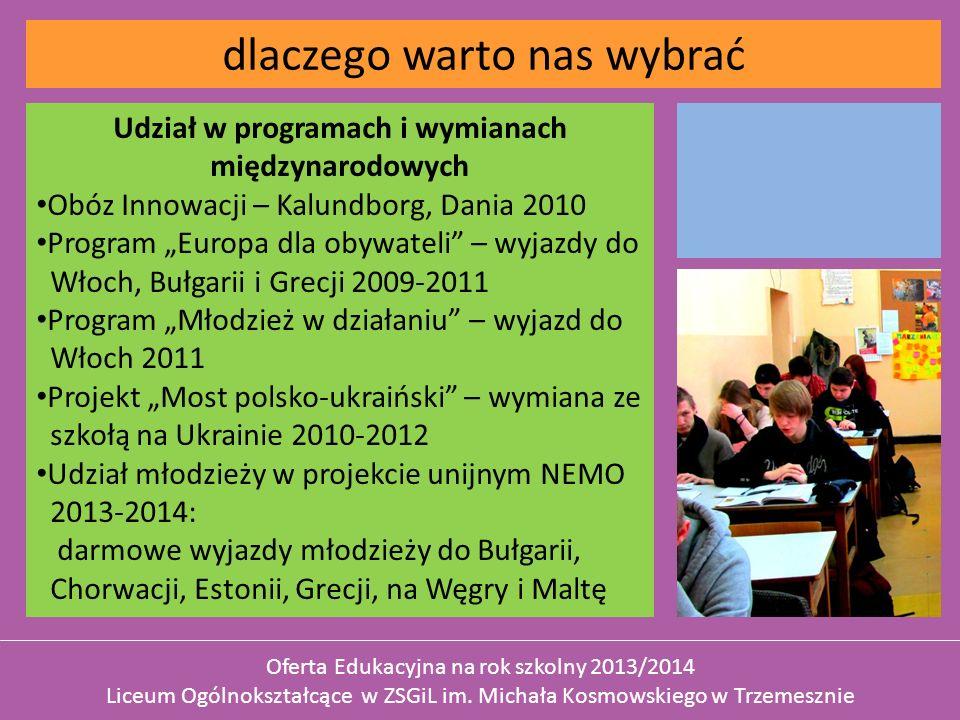 Udział w programach i wymianach międzynarodowych