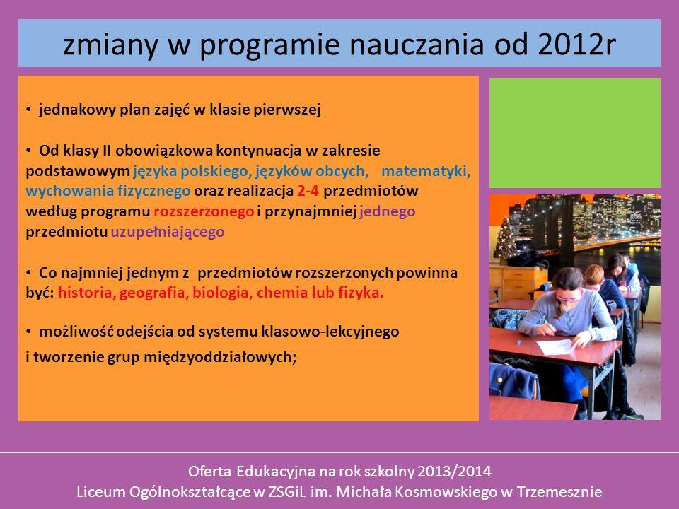 zmiany w programie nauczania od 2012r