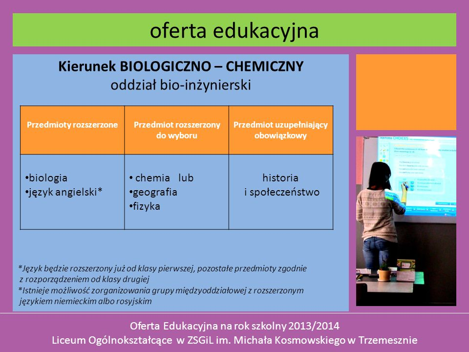 oferta edukacyjna Kierunek BIOLOGICZNO – CHEMICZNY