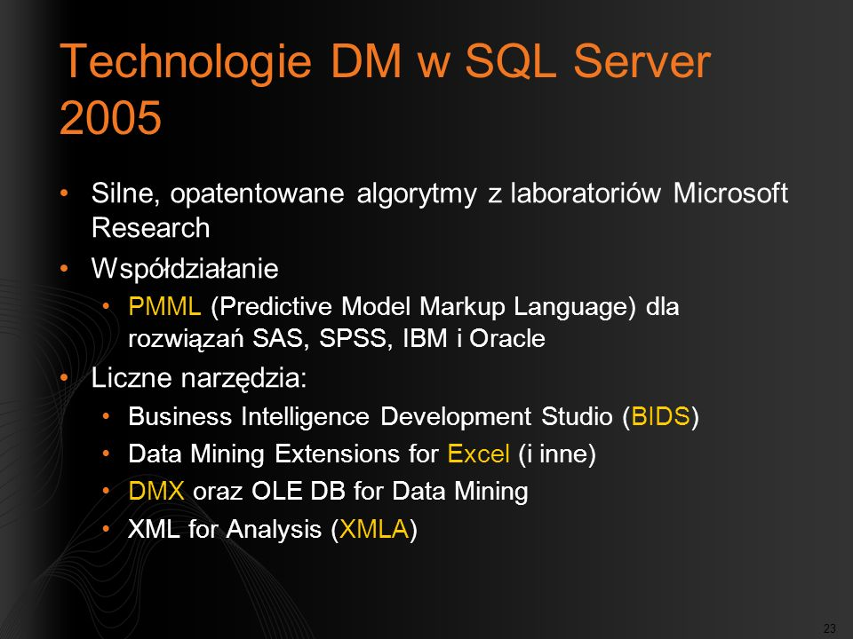 Technologie DM w SQL Server 2005