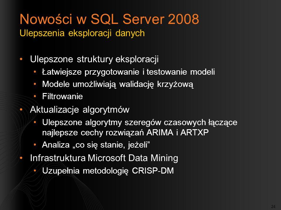 Nowości w SQL Server 2008 Ulepszenia eksploracji danych