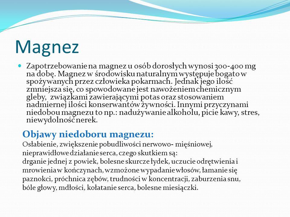 Magnez Objawy niedoboru magnezu: