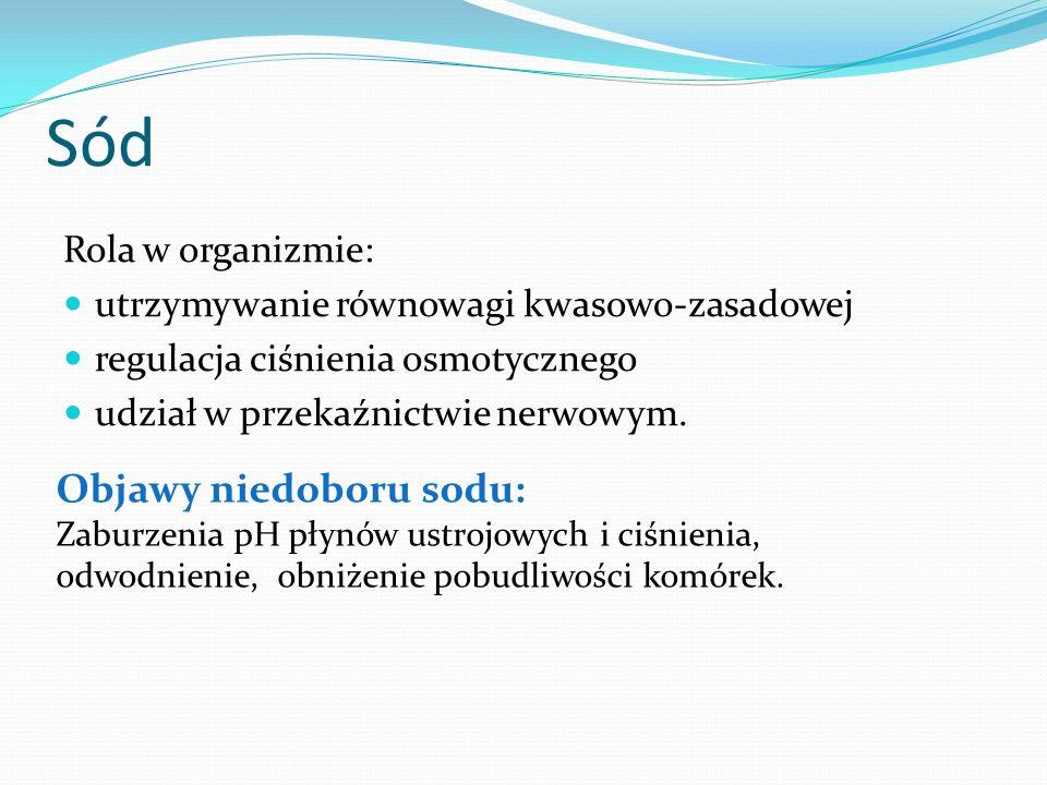 Sód Objawy niedoboru sodu: Rola w organizmie: