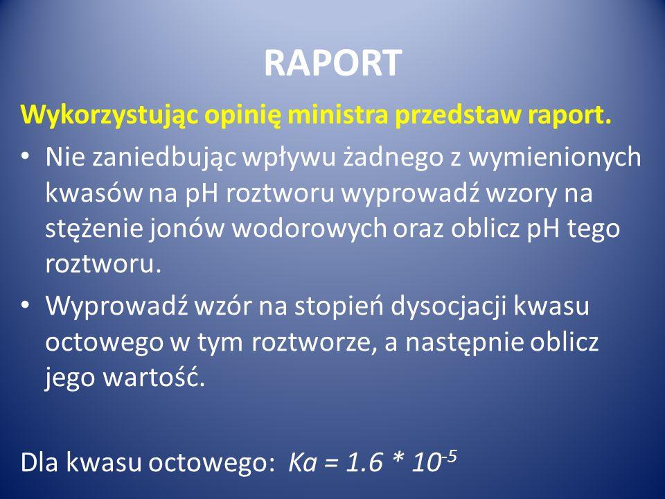 RAPORT Wykorzystując opinię ministra przedstaw raport.