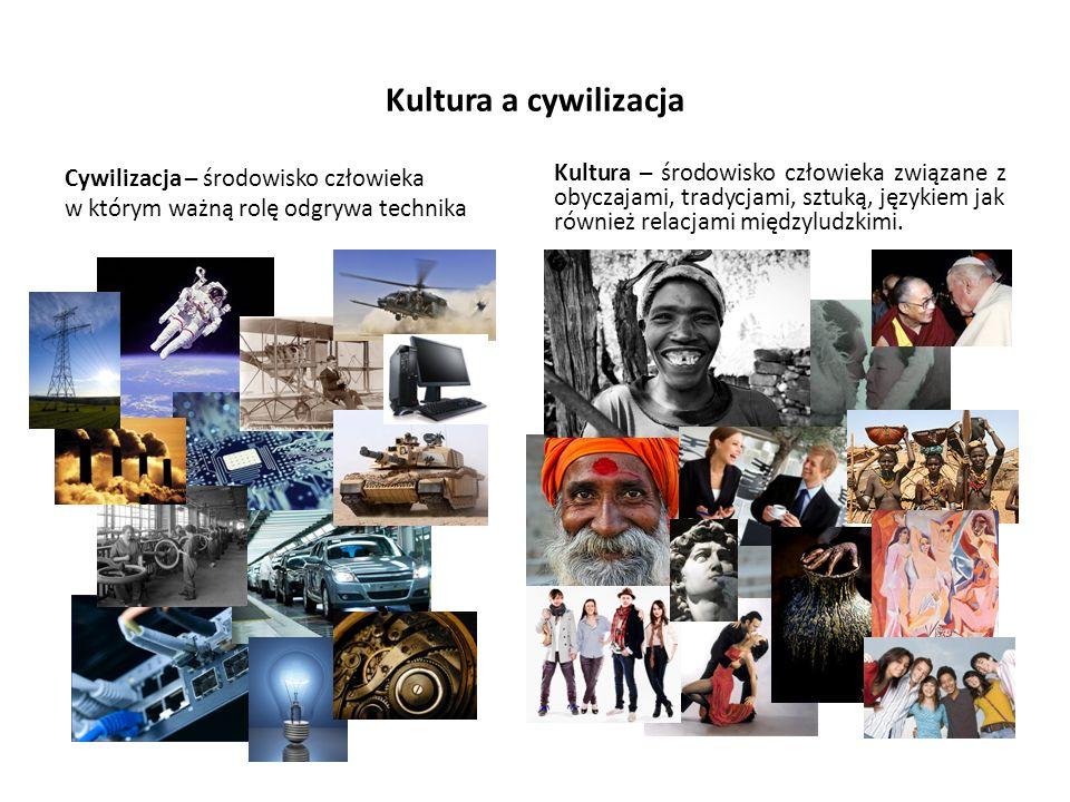 Kultura a cywilizacja Cywilizacja – środowisko człowieka w którym ważną rolę odgrywa technika.