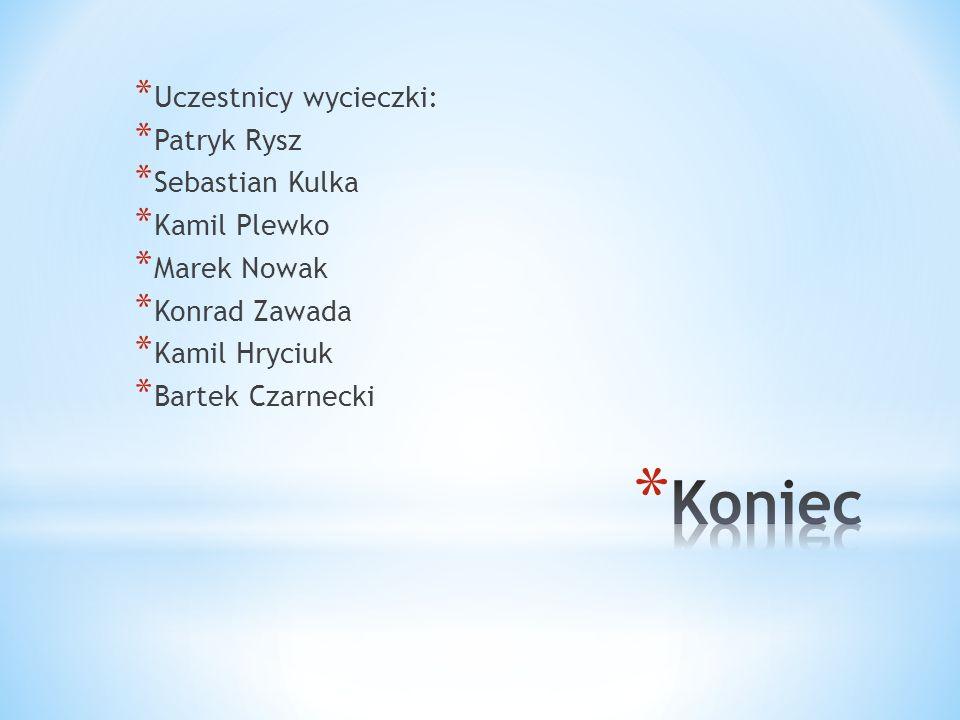 Koniec Uczestnicy wycieczki: Patryk Rysz Sebastian Kulka Kamil Plewko