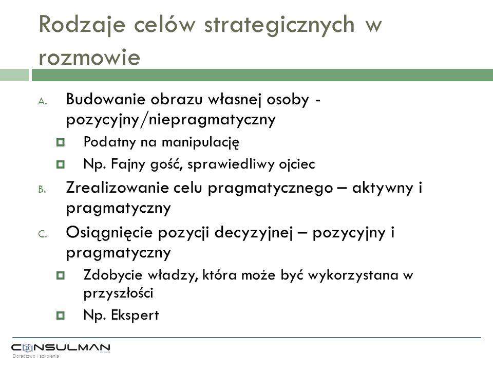 Rodzaje celów strategicznych w rozmowie
