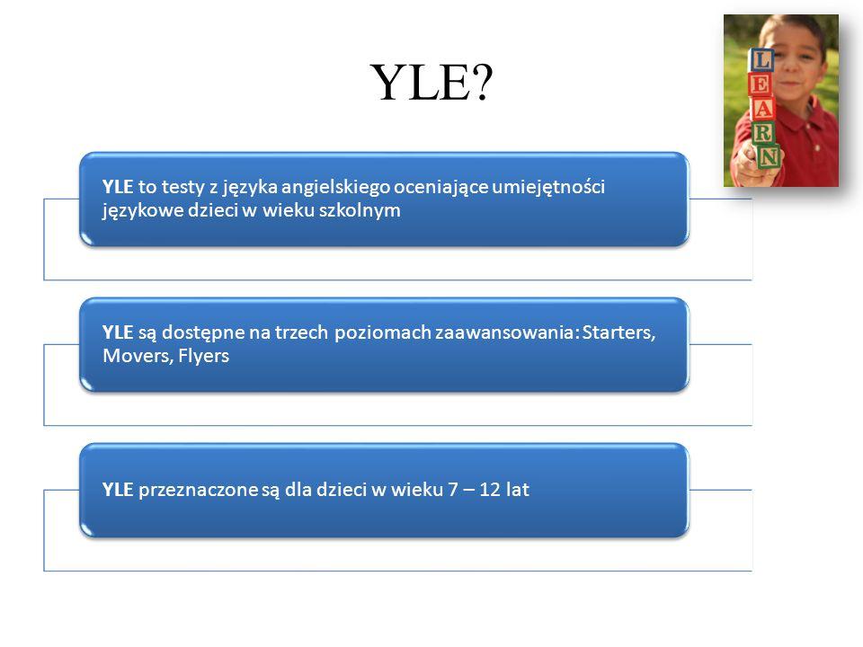 YLE YLE to testy z języka angielskiego oceniające umiejętności językowe dzieci w wieku szkolnym.
