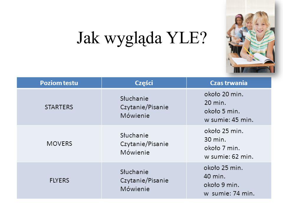Jak wygląda YLE Poziom testu Części Czas trwania STARTERS Słuchanie