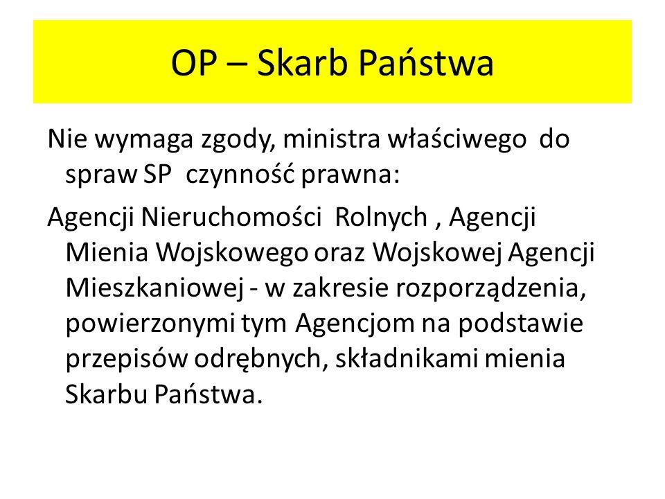 OP – Skarb Państwa Nie wymaga zgody, ministra właściwego do spraw SP czynność prawna: