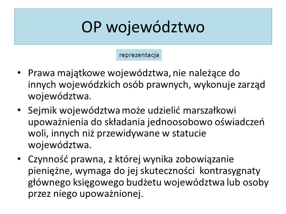 OP województworeprezentacja. Prawa majątkowe województwa, nie należące do innych wojewódzkich osób prawnych, wykonuje zarząd województwa.