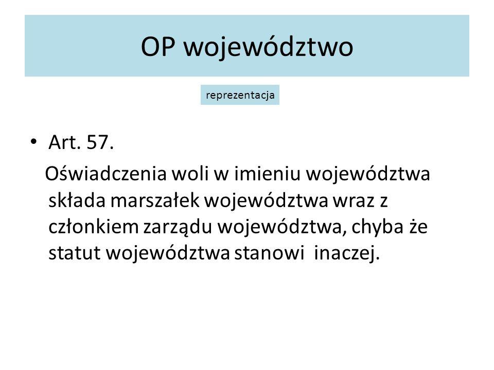 OP województwo reprezentacja. Art. 57.