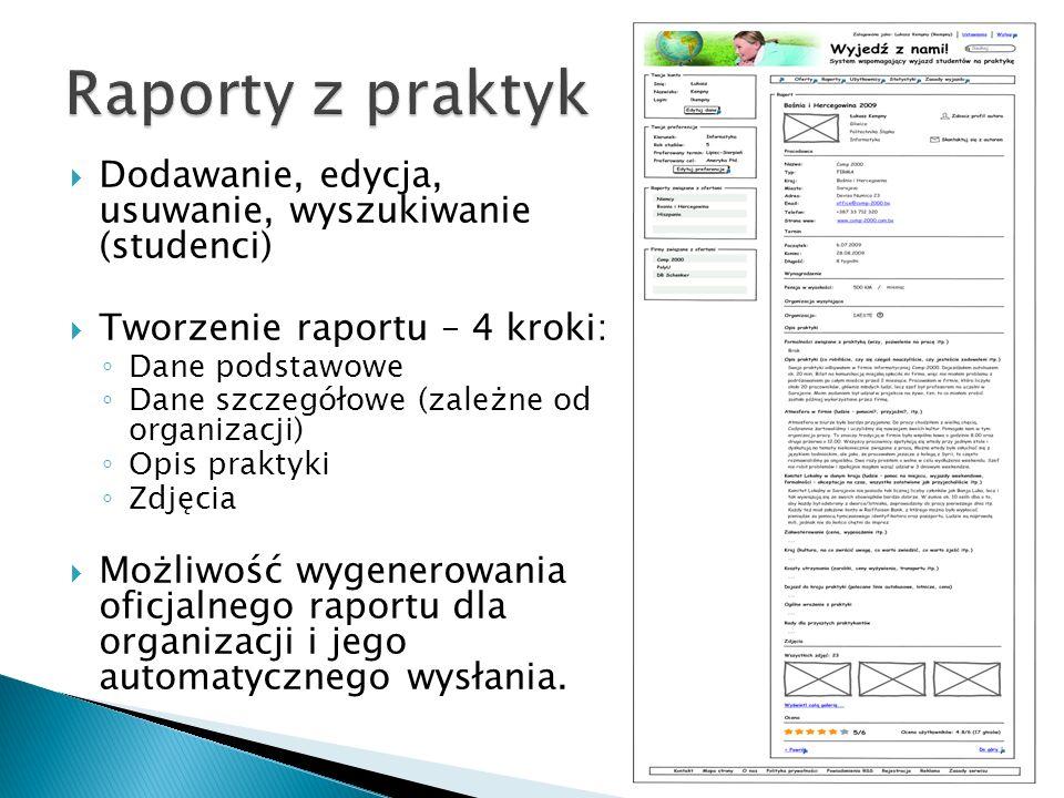 Raporty z praktyk Dodawanie, edycja, usuwanie, wyszukiwanie (studenci)
