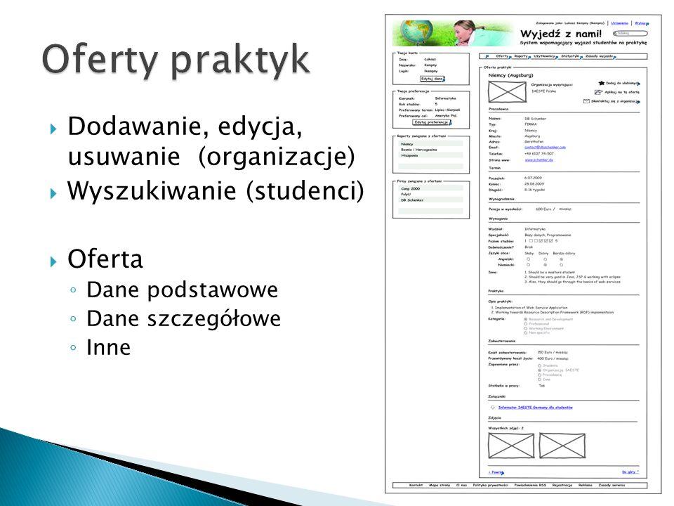 Oferty praktyk Dodawanie, edycja, usuwanie (organizacje)