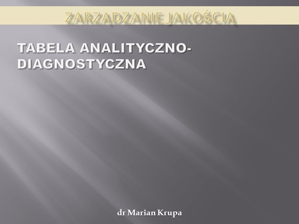Tabela analityczno-diagnostyczna
