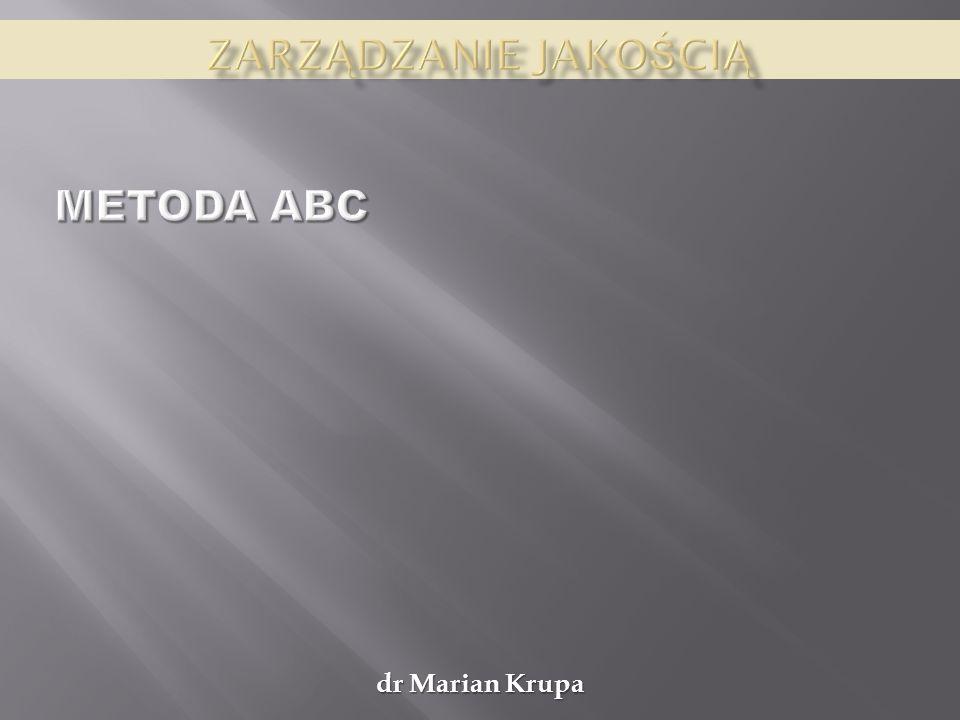 Zarządzanie jakością Metoda ABC dr Marian Krupa