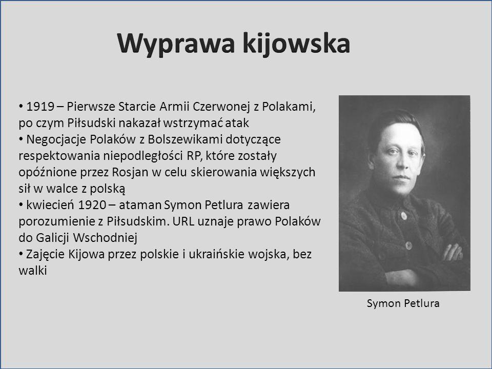 Wyprawa kijowska1919 – Pierwsze Starcie Armii Czerwonej z Polakami, po czym Piłsudski nakazał wstrzymać atak.