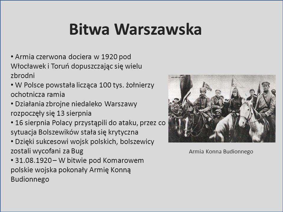 Bitwa WarszawskaArmia czerwona dociera w 1920 pod Włocławek i Toruń dopuszczając się wielu zbrodni.