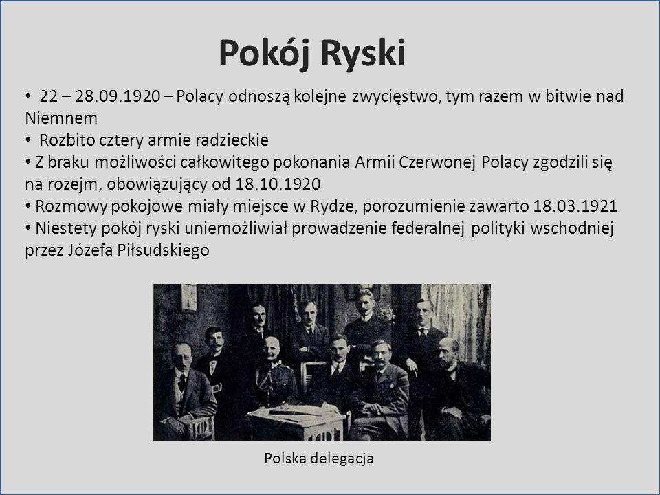Pokój Ryski22 – 28.09.1920 – Polacy odnoszą kolejne zwycięstwo, tym razem w bitwie nad Niemnem. Rozbito cztery armie radzieckie.