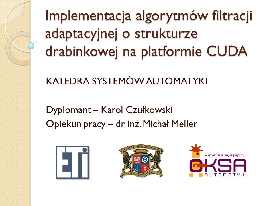 Implementacja algorytmów filtracji adaptacyjnej o strukturze drabinkowej na platformie CUDA