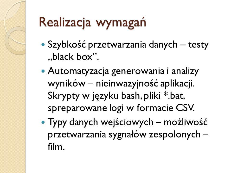 """Realizacja wymagań Szybkość przetwarzania danych – testy """"black box ."""