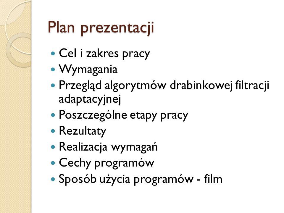 Plan prezentacji Cel i zakres pracy Wymagania