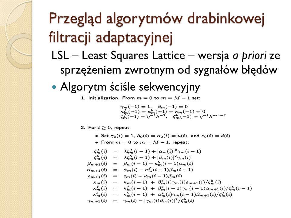 Przegląd algorytmów drabinkowej filtracji adaptacyjnej
