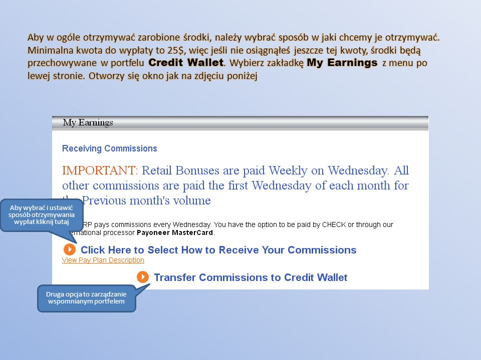 Aby w ogóle otrzymywać zarobione środki, należy wybrać sposób w jaki chcemy je otrzymywać. Minimalna kwota do wypłaty to 25$, więc jeśli nie osiągnąłeś jeszcze tej kwoty, środki będą przechowywane w portfelu Credit Wallet. Wybierz zakładkę My Earnings z menu po lewej stronie. Otworzy się okno jak na zdjęciu poniżej
