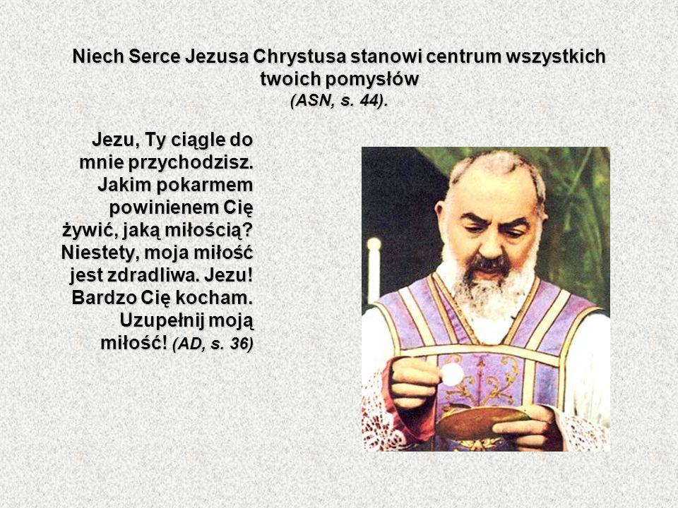 Niech Serce Jezusa Chrystusa stanowi centrum wszystkich twoich pomysłów (ASN, s. 44).