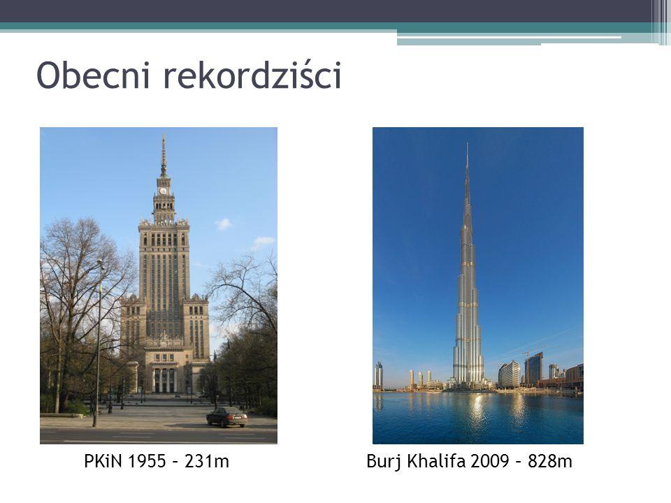 Obecni rekordziści PKiN 1955 – 231m Burj Khalifa 2009 – 828m